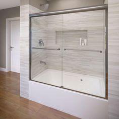Basco Celesta 60 in. x 58-1/4 in. AquaglideXP Clear Semi-Framed Sliding Door in Silver