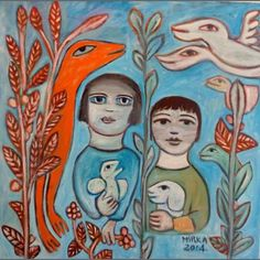 We will create our own fantasy paintings with people and animals after the wonderful Australian artist Mirka Mora, that will tell your own special story. Art And Illustration, Kunst Der Aborigines, Art Brut, Australian Artists, Australian Painters, Fantasy Paintings, Melbourne, Sydney, Naive Art