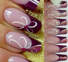 Flower nail art, creative nails, summer nails, beautiful nail designs, be. Beautiful Nail Designs, Beautiful Nail Art, Fancy Nails, Pretty Nails, Flower Nail Art, Art Flowers, Purple Flowers, Purple Nails, Fabulous Nails
