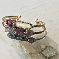 Raw Ruby Boho Bracelet with Blue Kyanite and Pyrite a July