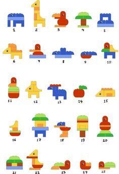 Не встречал ли кто в инете схем для сборок фигурок из Лего дупло? так,чтобы распечатать и ребенку перед глазами было по примеру учиться собирать? типа такого