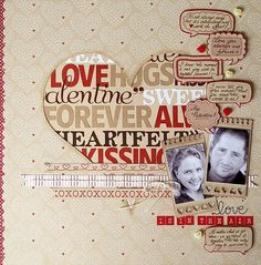 Such a fun layout -- love it. valentine scrapbooking heart