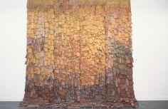 Hojarasca En Oro' work in four panels; Olga de Amaral