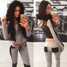 Fashion Women Fur Collar Casual Hoody Tracksuit Sport Fitness Gym Activewear BD
