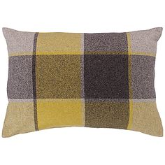 Buy Harlequin Check Wool Cushion, Yellow / Grey online at JohnLewis.com - John Lewis
