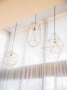 Tall Geometric Brass Pandent Lamp