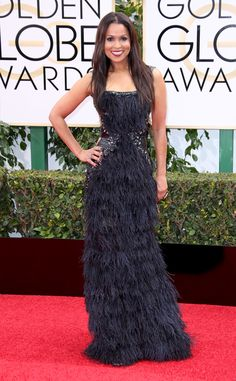 I love a feather dress. Tracey Edmonds from 2016 Golden Globes Red Carpet Arrivals
