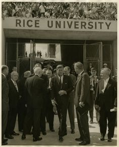 Pres. John F. Kennedy entering Rice stadium before giving his speech outlining the nation's space effort, September 12, 1962