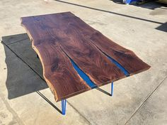 SOLD – Large Bookmatched Walnut Dining Table with Blue Resin - Wood Project Walnut Dining Table, Walnut Coffee Table, A Table, Live Edge Table, Live Edge Wood, Diy Resin Table, Coffee Table Dimensions, Wood Pieces, Diy Wood Projects