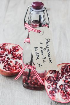Pomegranate vanilla vodka /     Ingredients:        120g or 2/3 cup fresh pomegranate seeds (roughly the amount from one large pomegranate or a packet)      3 Fairtrade vanilla pods (I used Ndalli pods)      75cl bottle vodka (40%ABV)      220g or one cup sugar      240ml or one cup water for-the-home