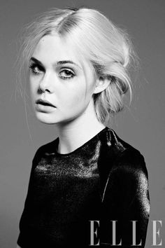 Elle Fanning | for some reason b&w photos are easier to draw than color.. Still, I wanna draw this!!