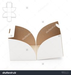 Empty Open Cube Box With Die Cut Template Stock Photo 336113135 : Shutterstock