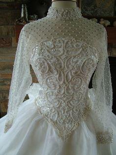 Wedding dress vintage pearl beaded bridal by RetroVintageWeddings, $435.00