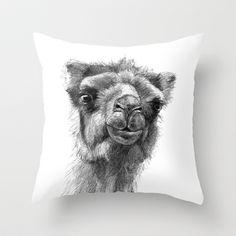 Bactrian Camel SK0103 Throw Pillow by S-Schukina - $20.00