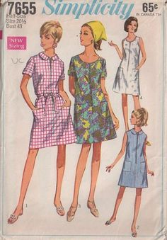 MOMSPatterns Vintage Sewing Patterns - Simplicity 7655 Vintage 60's Sewing Pattern SWELL Plus Size Housewife Front Zippered Scoop Neck House Dress, Day Dress
