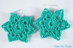 stars earrings Crochet Jewellery, Crochet Earrings, Thread Crochet, Star Earrings, Crochet Projects, Snowflakes, Projects To Try, Creations, Crochet Patterns
