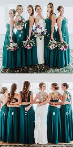 8bd98986227 Chiffon Mismatched Affordable Hot Sale Floor-Length Turquoise Bridesmaid  Dresses