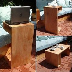 DIY Multi-Purpose Table - DIY Gift World --- I'd like to incorporate this as a pull out coffee table in a built in bookshelf. Diy Wood Projects, Furniture Projects, Home Projects, Home Furniture, Furniture Design, Bandeja Sofa, Diy Laptop, Diy Holz, Diy Desk