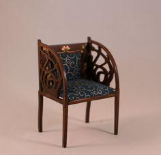 Miniature art nouveau chair; in 1/12 scale.