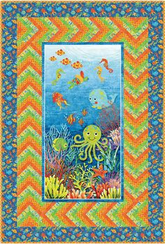 Fabric collection: Stonehenge Kids Undersea Adventures by Linda Ludovico for @Petra Thompson Fabrics Get the free quilt pattern here: http://www.allpeoplequilt.com/techniques/piecing/creative-panel-quilts_ss2.html