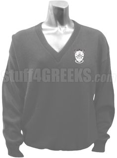 Gray Delta Psi Alpha v-neck sweater with the crest on the left breast.