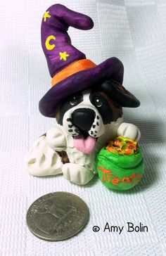 PUDGIE! · Saint Bernard · Halloween Witch Trick-Or-Treater · Amy Bolin - Amy Bolin's Far Out! Art
