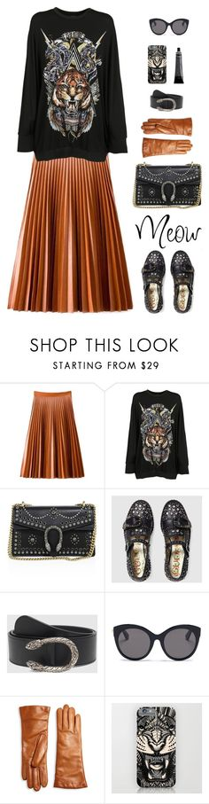 """easy tiger"" by ms-wednesday-addams ❤ liked on Polyvore featuring Balmain, Gucci, Saks Fifth Avenue Collection, tigerprint and felinefashion"