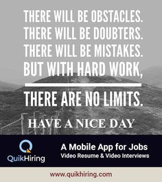 Mobile Job App for Job Seekers & Recruiters - QuikHiring Video Resume, Job Posting, Job Search, Hard Work, Mistakes, Mobile App, Interview, Create, Mobile Applications