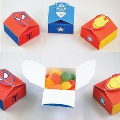 Printable Marvel Superhero Treat Boxes | Tektonten Papercraft