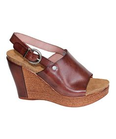 This Brown Portia Leather Platform Wedge by Eric Michael by Laurevan is perfect! #zulilyfinds