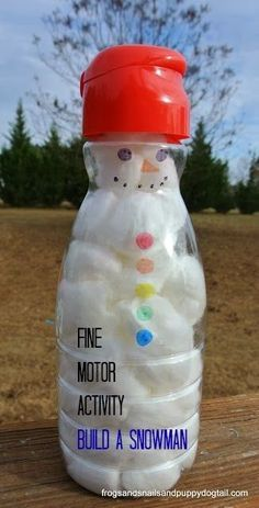 The BCW Lady says: This is good for putting in and taking out. Be sure to let your child put them in and take them out as many times as he/she wants. That's where the fine motor practice happens. Fine Motor Skills Build A Snowman