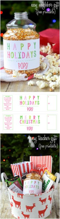 This {Free Printable} doubles as an easy teacher gift and easy neighbor gift! Just add a little popcorn!