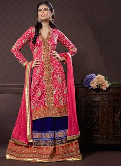 Scintillating Old Rose Embroidered Lacha
