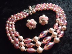 SALE Vintage Pink 3 Strand Beaded Necklace by MartiniMermaid