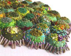 A YoYo Textile Garden Greens by rayela on Etsy