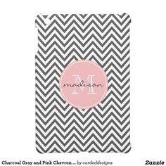 Charcoal Gray and Pink Chevron Custom Monogram iPad Mini Covers