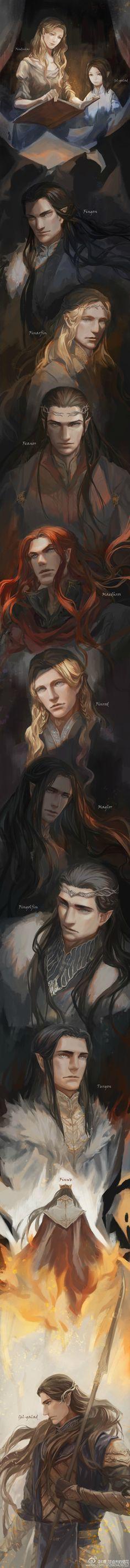 Finduilas, Gil-galad, Fingon, Finarfin, Fëanor, Maedhros, Finrod, Maglor, Fingolfin, Turgon, Finwë and Gil-galad