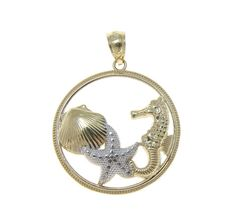 SOLID 14K YELLOW WHITE GOLD HAWAIIAN SEAHORSE STARFISH SHELL CIRCLE PE – Arthur's Jewelry
