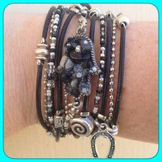 Boho Chic Wrap Bracelet, Hamsa Bracelet, Hamsa Hand Bracelet, Hamsa Jewelry, Black and Silver, Beaded Wrap Bracelet, Evil Eye Jewelry