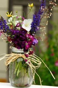 Mason jar flowers for tables: wedding shower