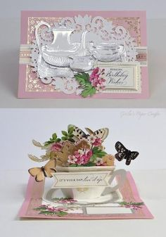 Birthday Cup, Birthday Cards, Scrapbook Cards, Scrapbooking, Homemade Greeting Cards, Anna Griffin Cards, Card Making Kits, Pop Up Cards, Tea Sets
