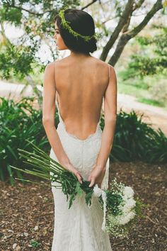 backless bohemian wedding gown.