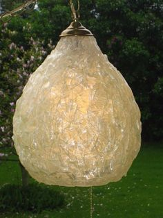 Vintage Ivory Colored Spun Fiberglass CONE Hanging Swag Lamp w/ Pull Chain Light