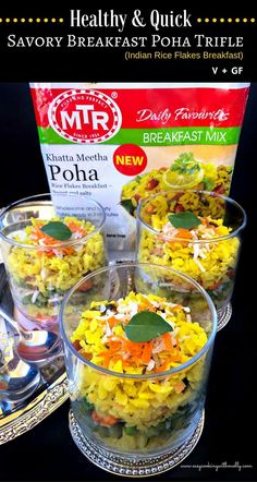 Healthy and Quick – Savory Breakfast Poha Trifle : #ad #mtrfoods #poha #trifle #breakfast
