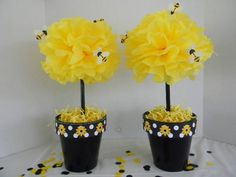 Bumble Bee Tissue Pom Pom Pots | PoppinPartyDesigns - Crochet on ArtFire