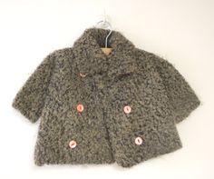 1920's Rare Handmade Gray Curly Lambswool Coat and by BabyTweeds, $99.00