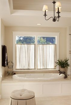 New bathroom window coverings diy tubs Ideas Bathroom Window Coverings, Small Bathroom Window, Bathroom Window Curtains, Valance Window Treatments, Window In Shower, Bathroom Windows, Bathroom Wall Decor, Bathroom Interior Design, Bathroom Lighting
