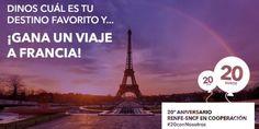 Sorteo de un viaje a Francia para 2 personas de Renfe #sorteo #concurso http://sorteosconcursos.es/2017/01/sorteo-viaje-francia-2-personas/