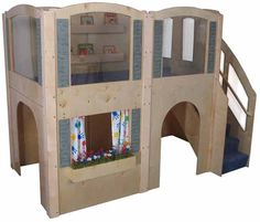 Mainstream Preschool Expedition 15 Wave Loft with Blue Carpeting & Steps on Right, 122''w x 65''d x 92''h overall, 52''h deck