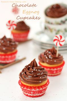 eggnog cupcakes with chocolate cream-cheese frosting